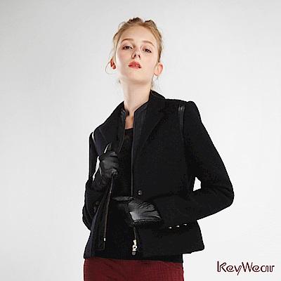 KeyWear奇威名品    長袖內領剪接大衣-黑色