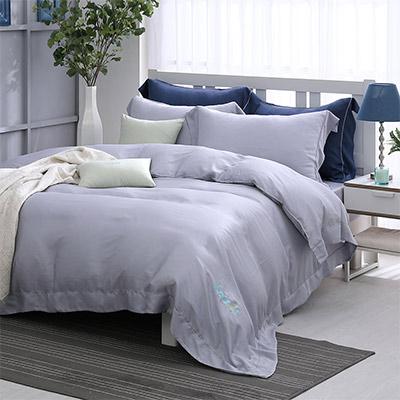 LASOL睡眠屋-100%奧地利天絲 雙人兩用被床包四件組清晨微光