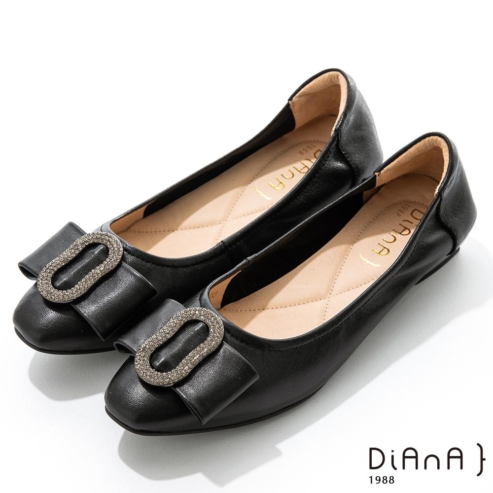 DIANA 2.5cm質感羊皮水鑽圓環尖頭娃娃鞋-俏皮甜美-黑
