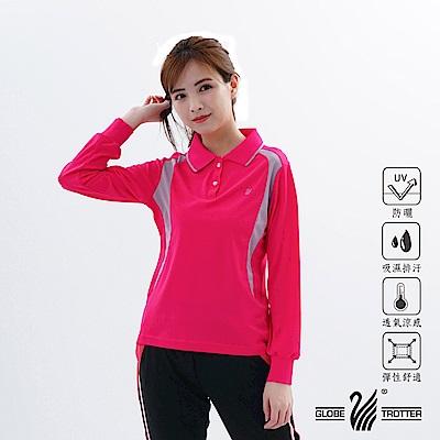 【遊遍天下】MIT女款吸濕排汗抗UV顯瘦長袖POLO衫L063玫紅