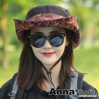 【出清3件5折】AnnaSofia 迷彩網鏤 防曬寬簷漁夫帽牛仔遮陽帽(咖橘系)