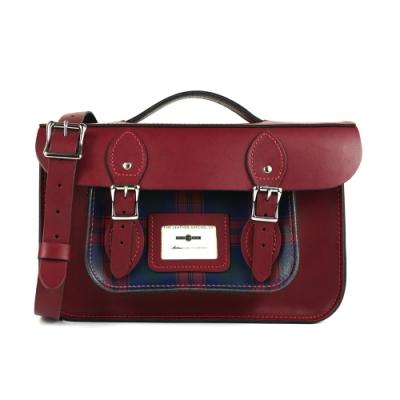 The Leather Satchel 英國手工牛皮三用相機包 手提 肩背 後背包 格紋紅