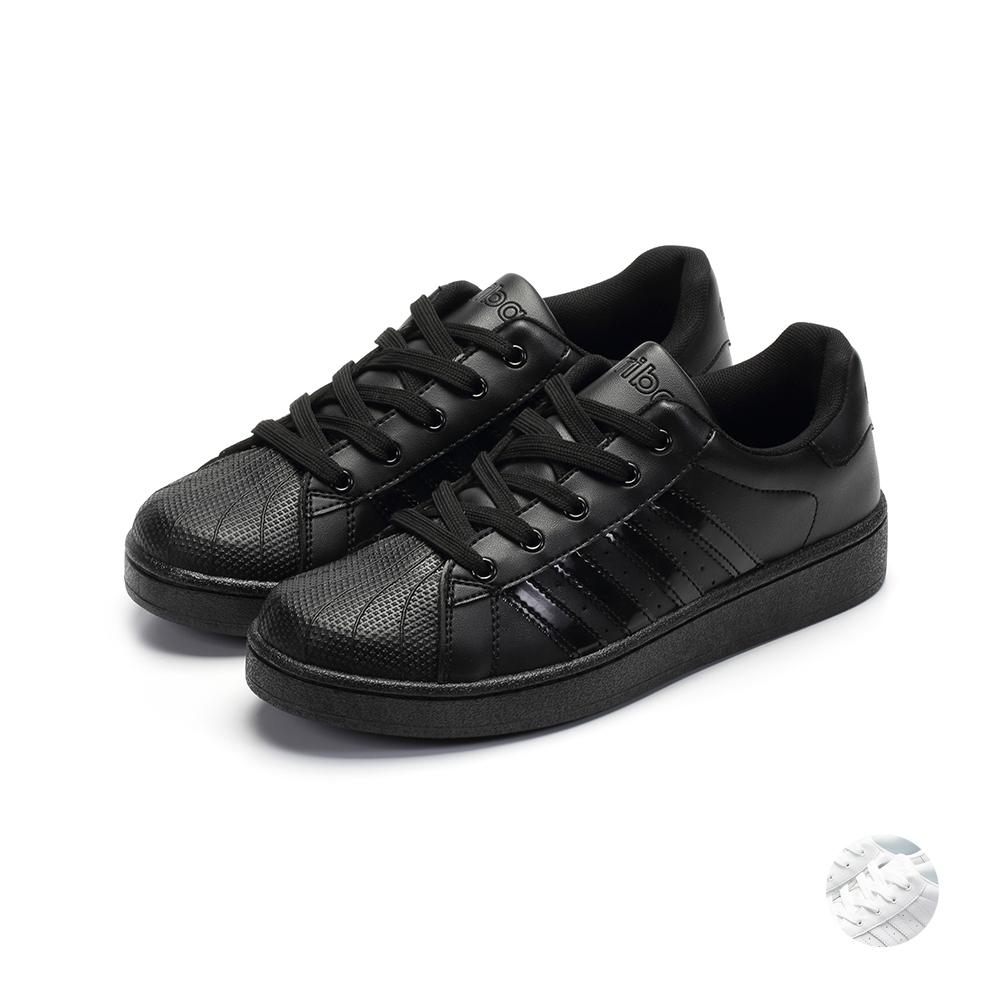 ARRIBA艾樂跑男鞋-素色皮質休閒鞋-黑/白(FA551)