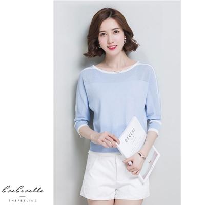 2F韓衣-韓系圓領配色條紋針織上衣-4色(F)