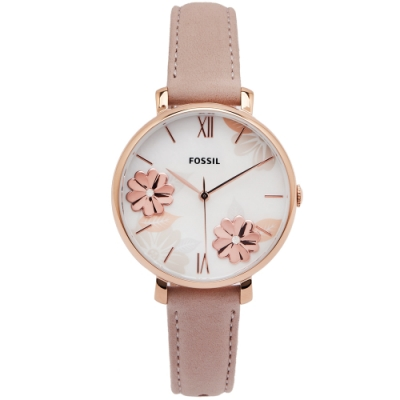 FOSSIL 花語珍珠貝共舞風的手錶(ES4671)-珍珠貝面X粉色/36mm