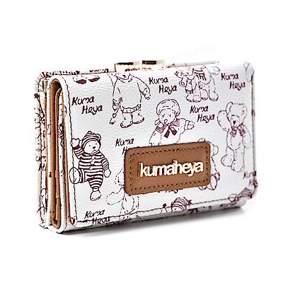 kuma heya -美國熊雙層式夾扣零錢袋短夾-白