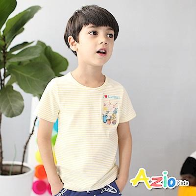 Azio Kids 上衣 夏季水果透明口袋條紋上衣(黃)