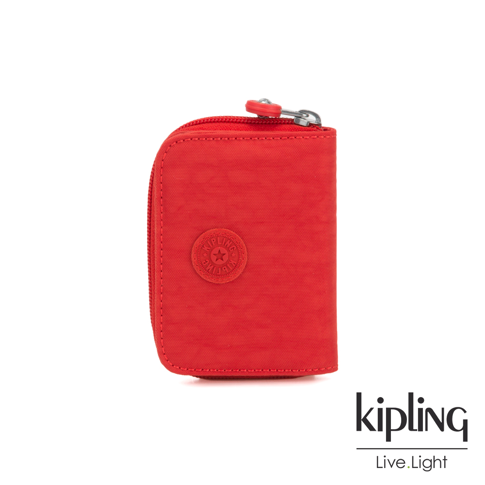 Kipling 珊瑚紅素面短夾-TOPS