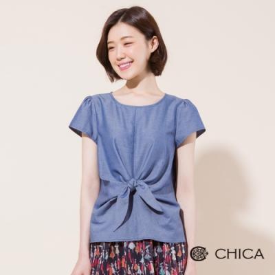CHICA 立體剪裁綁帶設計短袖上衣(2色)