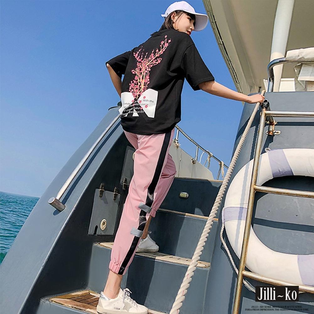 JILLI-KO 兩件套INS抖音時尚韓版運動套裝- 黑色