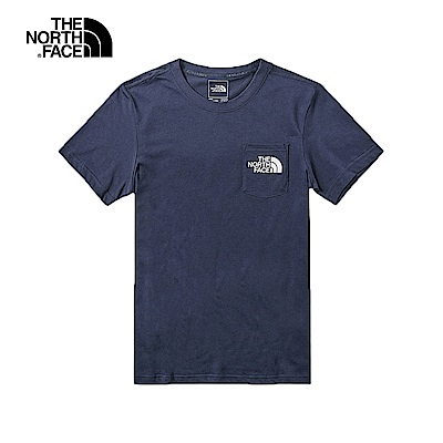 The North Face北面男款深藍色吸濕排汗短袖T恤|46J3H2G