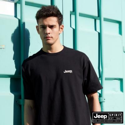 Jeep 男裝 簡約品牌LOGO圖騰短袖T恤-黑色
