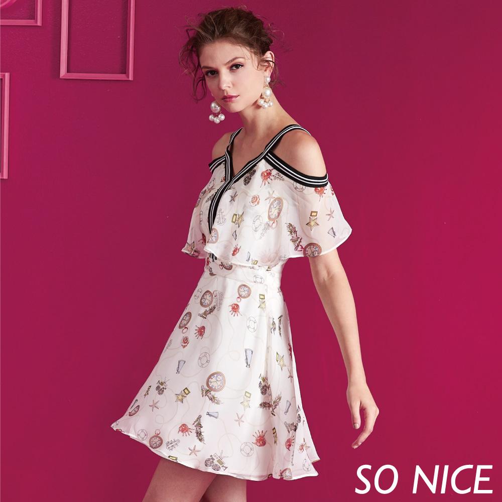 SO NICE浪漫海洋風印花洋裝