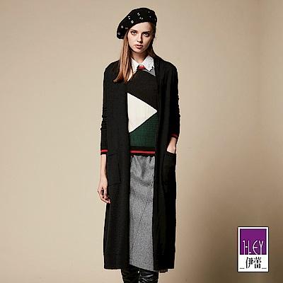 ILEY伊蕾 開襟造型混羊毛針織長版外套(黑)