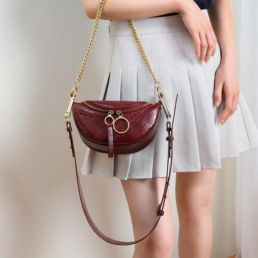 leaper時尚半月型真皮手挽鏈條單肩斜挎包 共3色