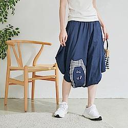 慢 生活 格紋貓咪螺紋腳口裙褲-深藍/深綠