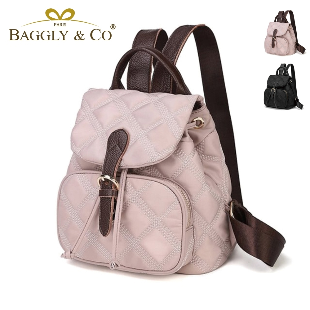 【BAGGLY&CO】梅斯韓版簡約純色菱格後背包(二色)