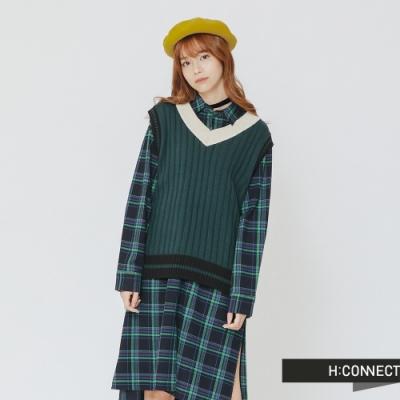 H:CONNECT 韓國品牌 女裝 - 復古配色V領針織背心-綠(快)