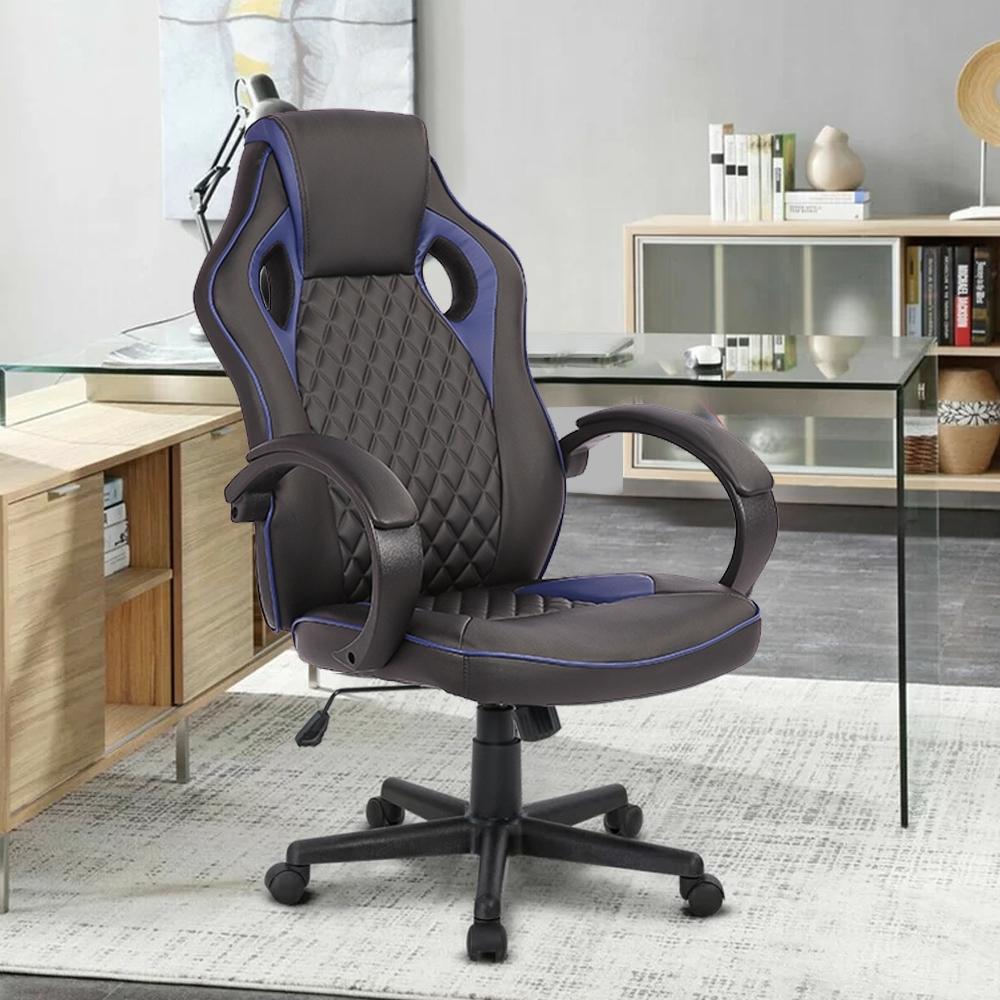 E-home Grandiose雄圖賽車型電競椅-EGS002 藍色
