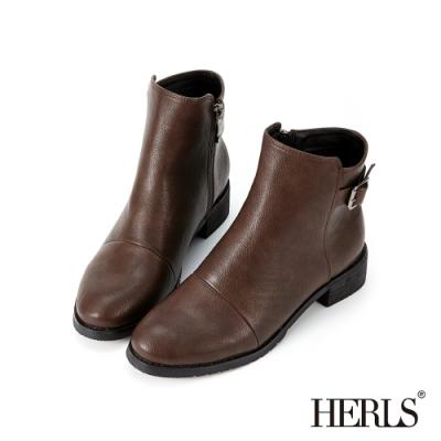 HERLS短靴-皮帶釦拉鍊圓頭皮革粗跟短靴-咖啡色