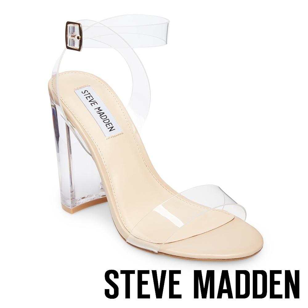STEVE MADDEN-CAMILLE 金屬扣透明交叉帶高跟涼鞋-透明