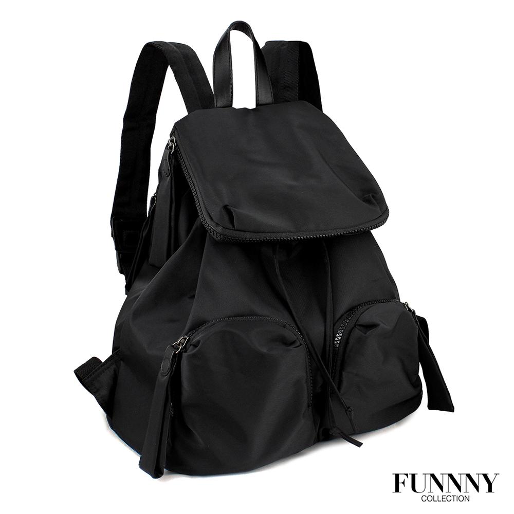 FUNNNY BLACK系列 輕量尼龍後背包 Ava 黑