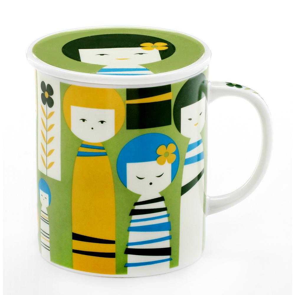 Royal Duke 日本製趣味馬克杯-日本娃美代子綠(300ml附杯蓋)