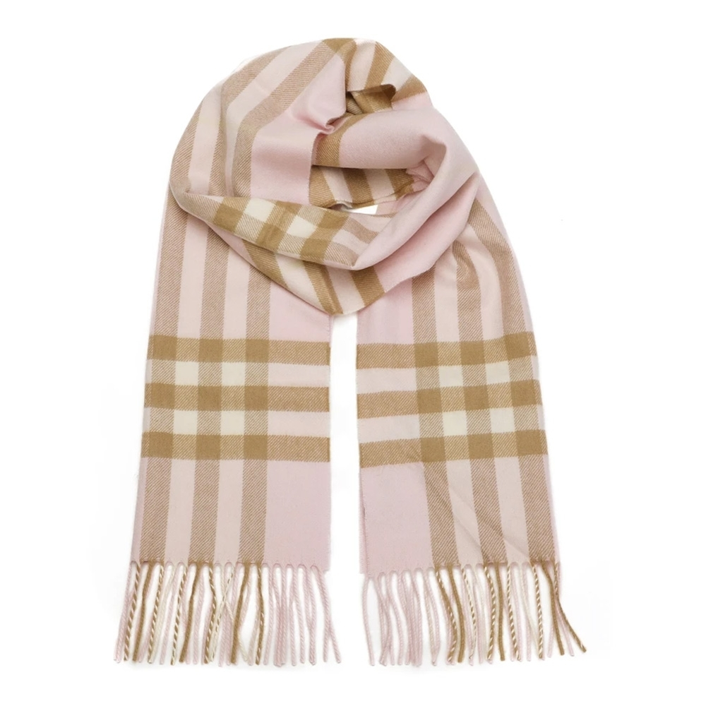 BURBERRY 經典格紋喀什米爾羊毛流蘇圍巾 淡粉色