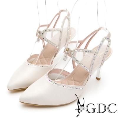 GDC-華麗殿堂鑲鑽簍空尖頭涼跟鞋-白色