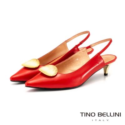 Tino Bellini美形金釦細膩後拉帶低跟鞋_紅