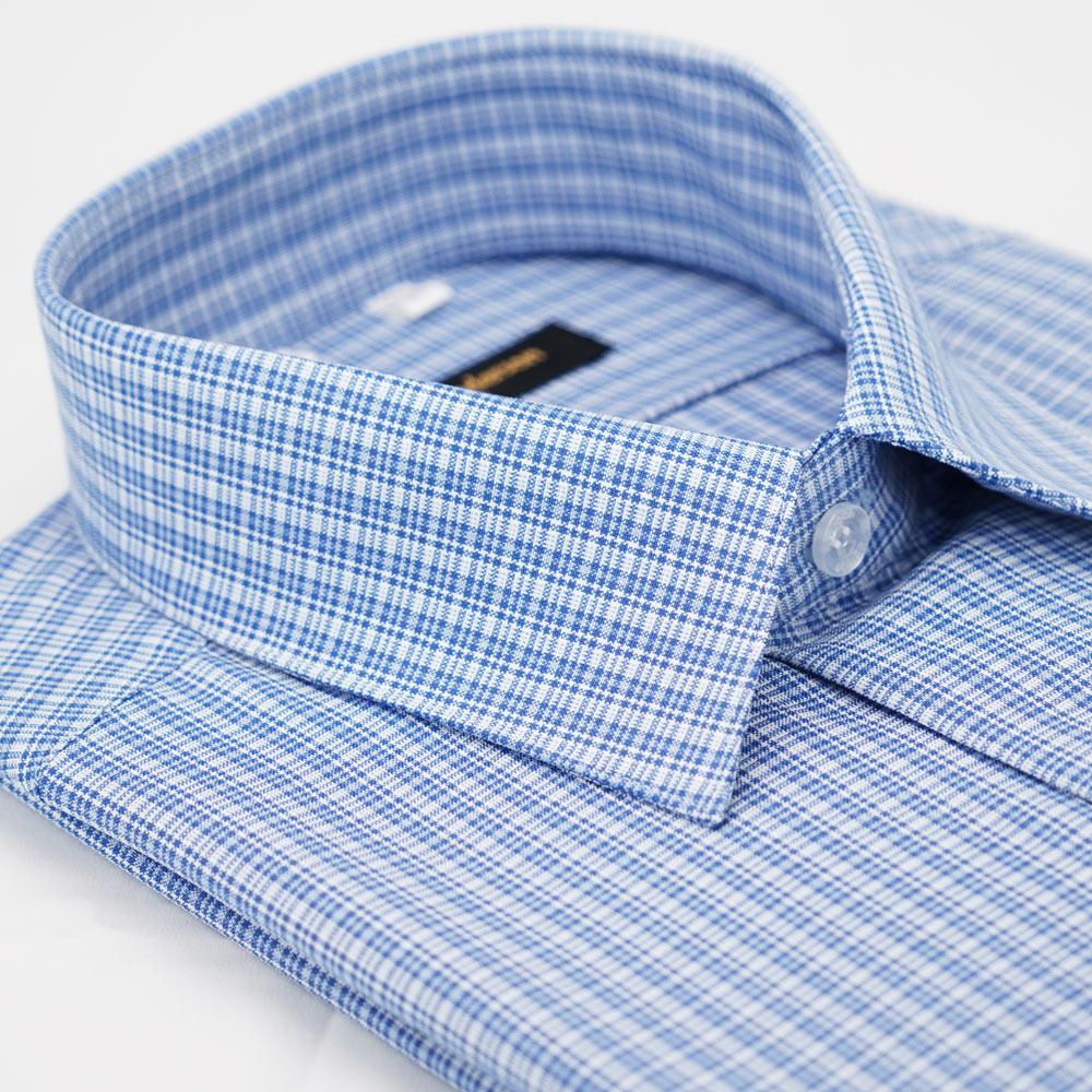 金‧安德森 藍色格紋吸排長袖襯衫