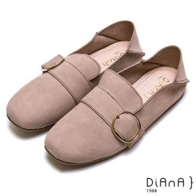 DIANA 2WAY真皮大圓釦方頭休閒鞋-漫步雲端超厚切焦糖美人-灰
