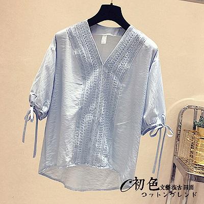 簡約純色V領雪紡上衣-共3色(M-2XL可選)    初色