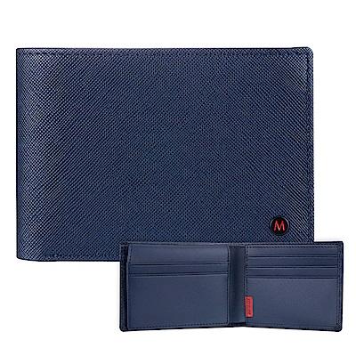 Mondaine 瑞士國鐵國徽系列十卡短夾-十字紋-藍