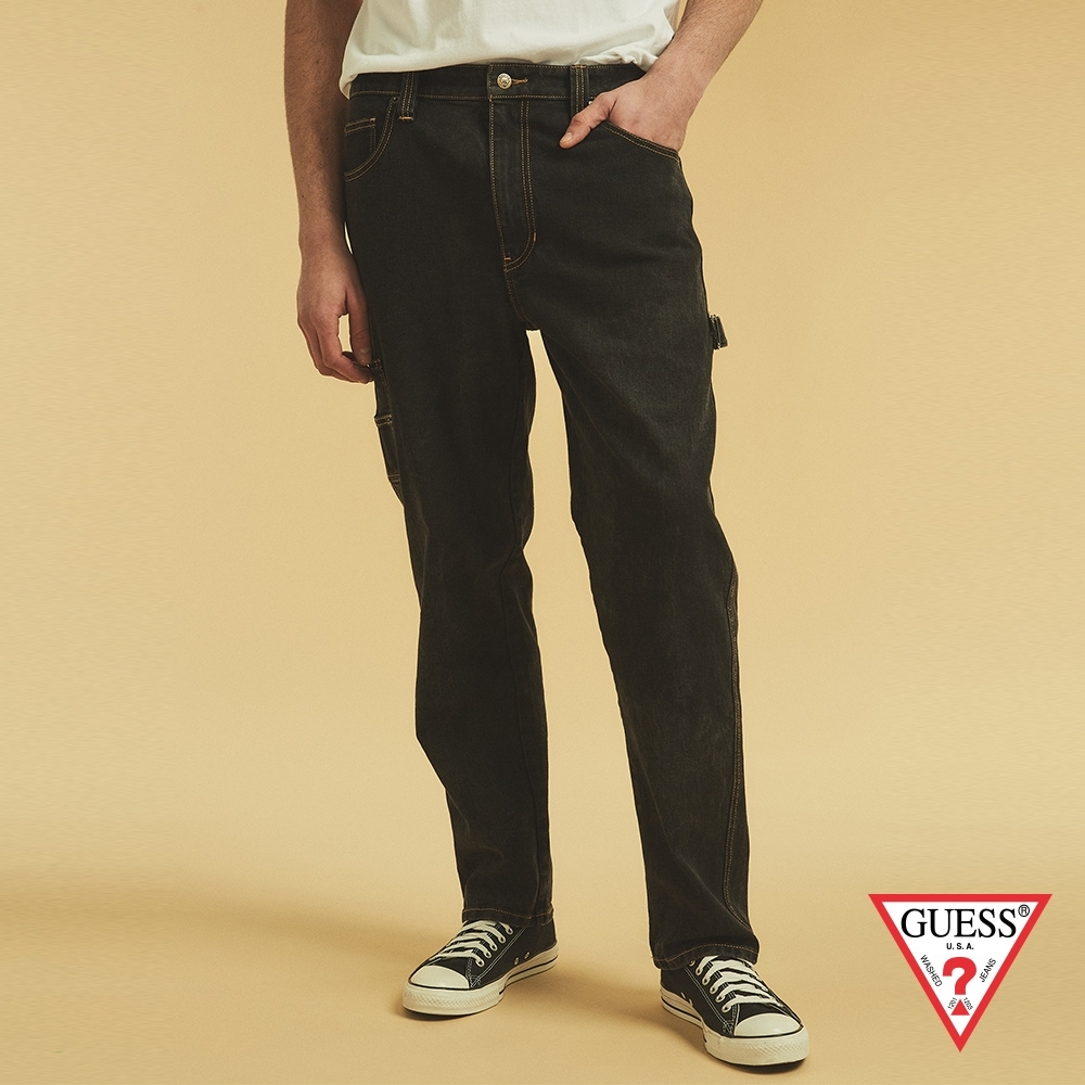 GUESS-男裝-ORIGINALS系列工裝造型直筒牛仔褲-黑 原價3990