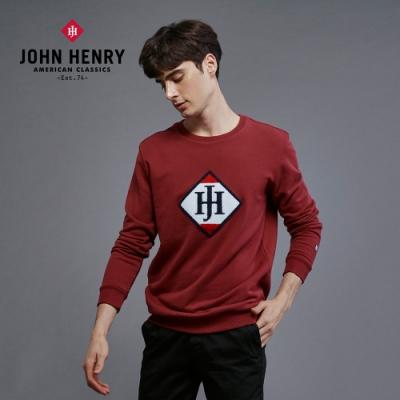 【JOHN HENRY】品牌立體毛巾刺繡長袖T恤-紅