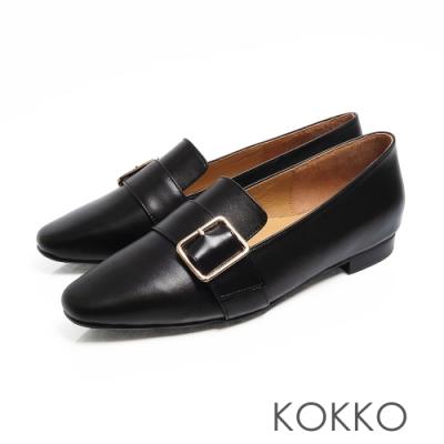KOKKO -  小方頭牛皮飾帶舒壓樂福平底鞋 - 亮黑色