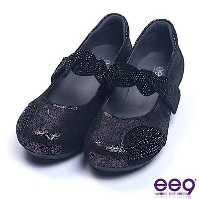 ee9 質感簡約鑲嵌水鑽異材質併接娃娃鞋 紫色