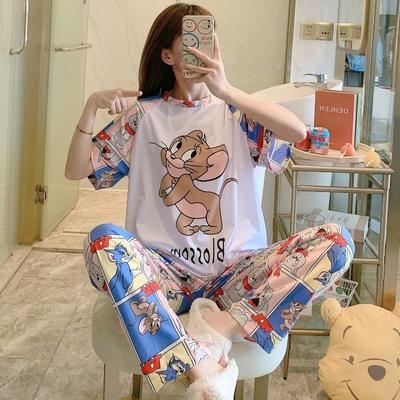 La Belleza彩色卡通老鼠貓咪印花上衣加褲子居家休閒套裝