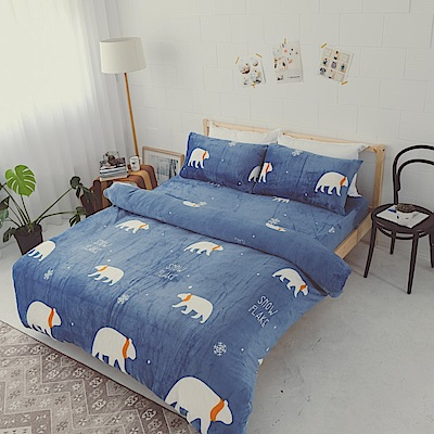 AmissU 北歐送暖法蘭絨雙人兩用毯被單人床包三件組 北極熊戀曲