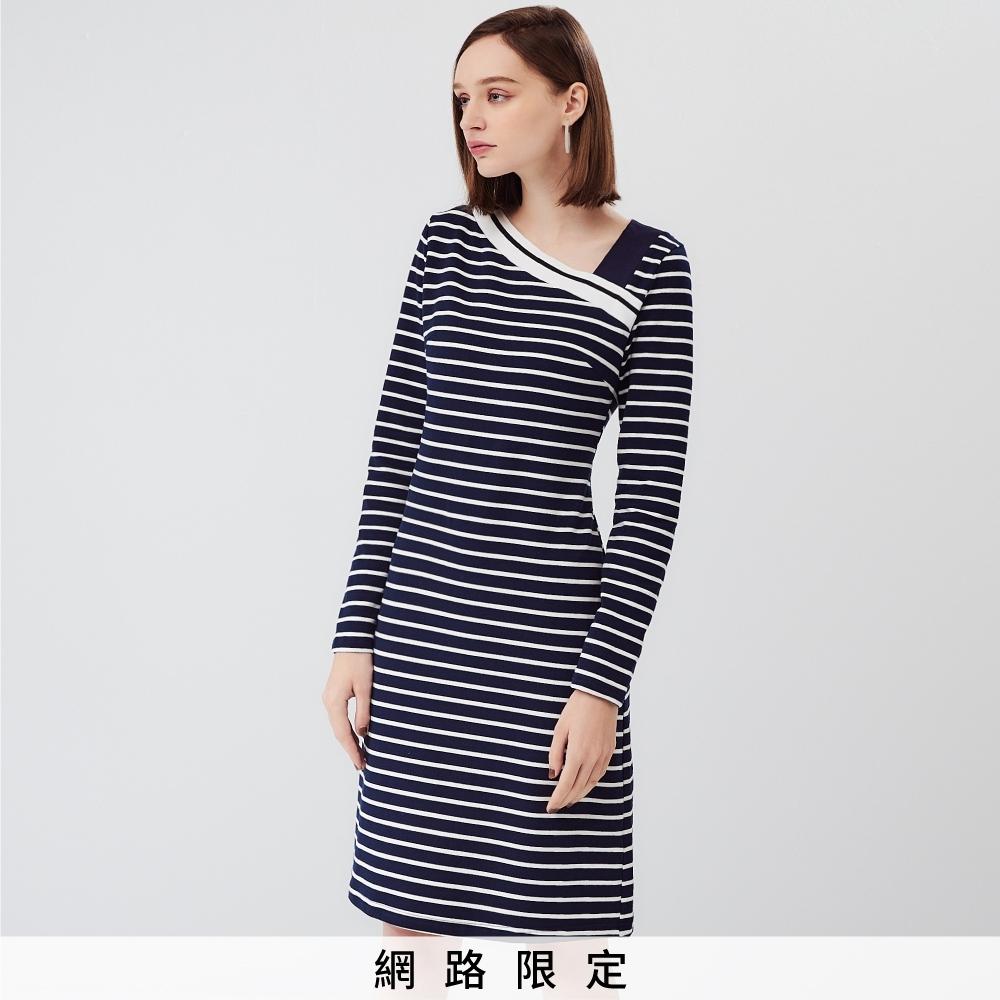 SO NICE俏麗斜領條紋休閒洋裝