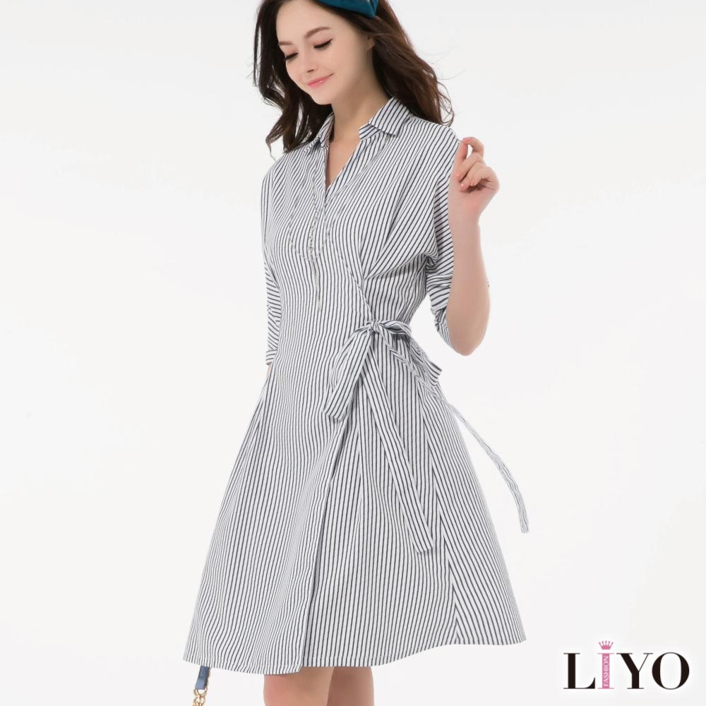LIYO理優直紋修身襯衫V領綁帶和服洋裝
