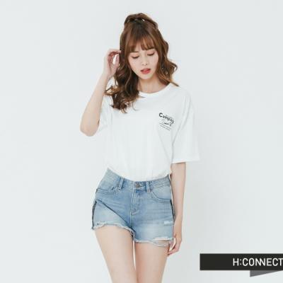 H:CONNECT 韓國品牌 女裝-領口設計圖印T-shirt-白