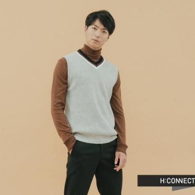 H:CONNECT 韓國品牌 男裝-V領撞色針織背心-灰(快)