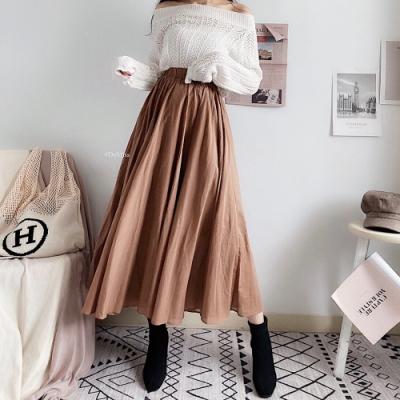 DoMiss大擺顯瘦雙層麻紗 棉麻長裙(2色)