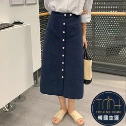 韓國空運 排扣棉麻長裙-TMH