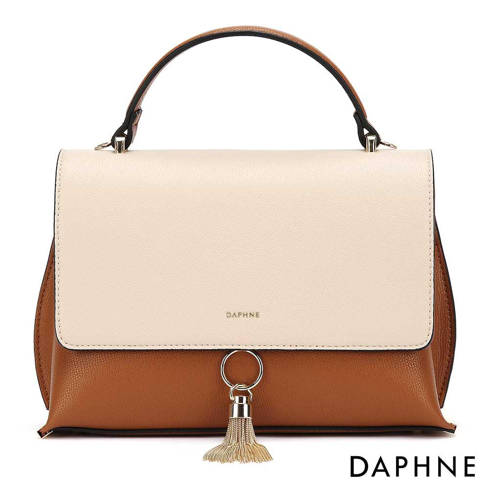 達芙妮DAPHNE-金屬流蘇手提側背多用包-杏色