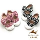 天使童鞋-可愛英倫風毛呢休閒鞋(小-中童)-D9008-黑、粉