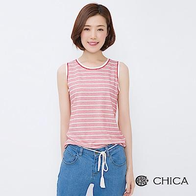 CHICA 復古清新拼接配色條紋背心(2色)