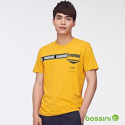bossini男裝-圓領短袖字母上衣04亮黃